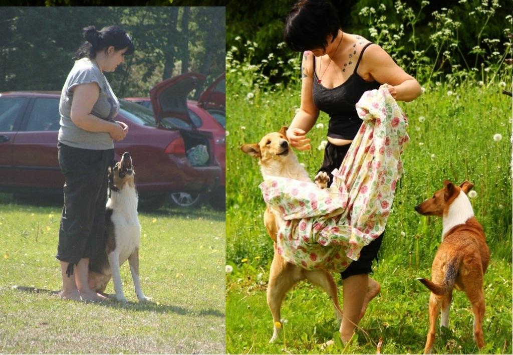 Vasemmalla minä Bregon kanssa tiimin kesäpäivässä 2011 ja ystävän nappaama kuva minusta Jukan ja Miinan kanssa pari viikkoa sitten :)